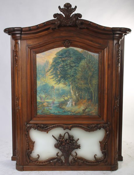 1: FRENCH CARVED WALNUT TRUMEAU MANTLE TOP