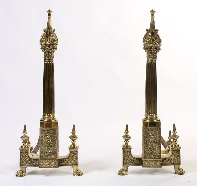 2: LARGE BRONZE NEOCLASSICAL FIREPLACE ANDIRONS