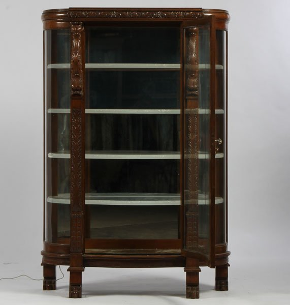 7: AMER VICT CARVED OAK BOW FRONT CHINA CABINET