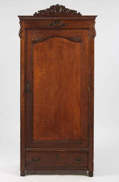 11: ANTIQUE VICTORIAN CARVED OAK ARMOIRE NORTHWIND