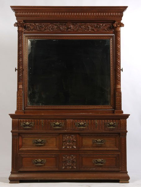 14: QUALITY VICTORIAN CARVED MAHOGANY DRESSER + MIRROR