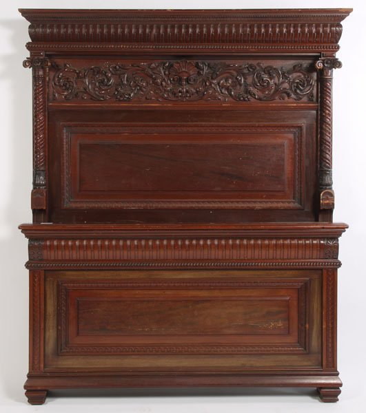 15: QUALITY OVERSIZED RELIEF CARVED MAHOGANY BED