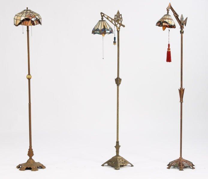 16: 3 ART DECO METAL STANDING FLOOR LAMPS