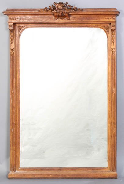 18: ANTIQUE FRENCH CARVED WALNUT MIRROR