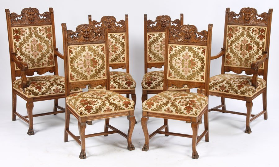 20: SET 6 VICTORIAN ANTIQUE OAK DINING CHAIRS