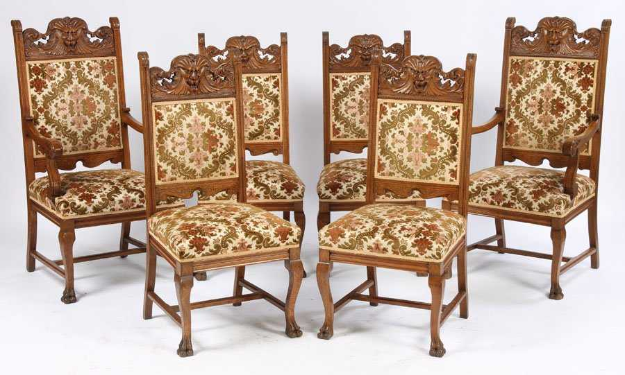 - 20: SET 6 VICTORIAN ANTIQUE OAK DINING CHAIRS