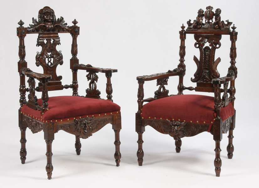 22: PAIR ANTIQUE ITALIAN CARVED ARM CHAIRS