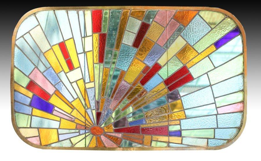 37: ART DECO ERA SUNBURST STAINED GLASS WINDOW GERMAN