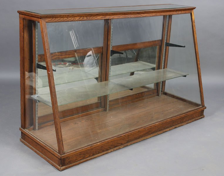 483 Antique Oak Store Display Case Glass Front