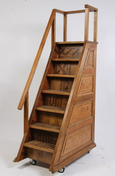 500: 7 STEP OAK SET PORTABLE LIBRARY STAIRS