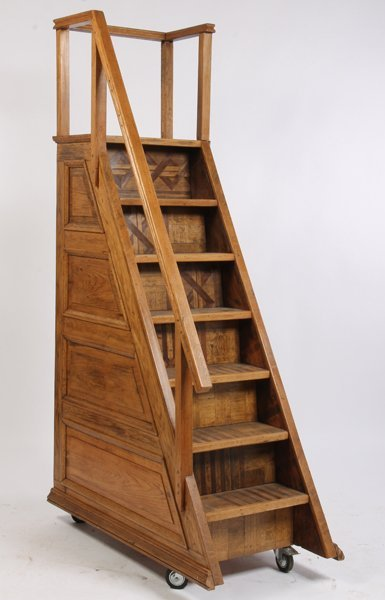 500: 7 STEP OAK SET PORTABLE LIBRARY STAIRS - 2