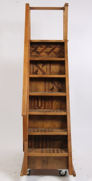 500: 7 STEP OAK SET PORTABLE LIBRARY STAIRS - 4
