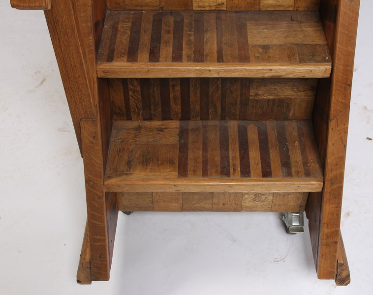 500: 7 STEP OAK SET PORTABLE LIBRARY STAIRS - 5
