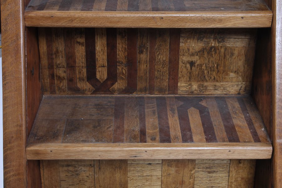 500: 7 STEP OAK SET PORTABLE LIBRARY STAIRS - 8