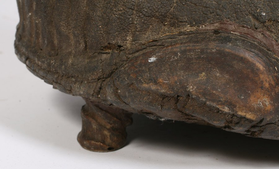 542: LATE VICTORIAN ELEPHANT FOOT TAXIDERMY STOOL - 6