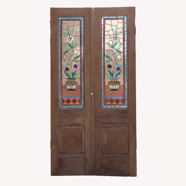 PR ANTQIUE VICTORIAN LEADED GLASS DOORS