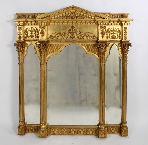 1: LARGE NEOCALSSICAL GILTWOOD GESSO OVER MANTLE MIRROR