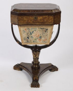 2: ANTIQUE ENGLISH PAPIER MACHE SEWING STAND