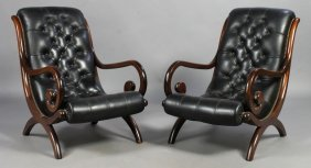 3: PAIR LEATHER CAMPECHE STYLE LOUNGE CHAIRS