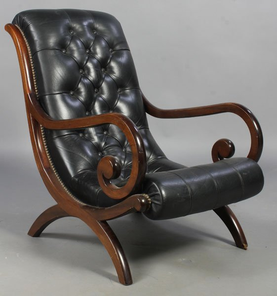 3: PAIR LEATHER CAMPECHE STYLE LOUNGE CHAIRS - 2