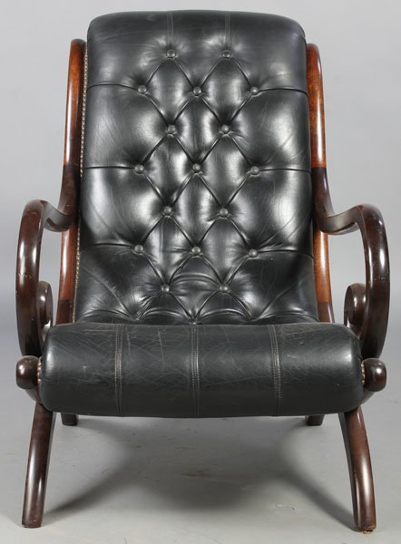 3: PAIR LEATHER CAMPECHE STYLE LOUNGE CHAIRS - 3
