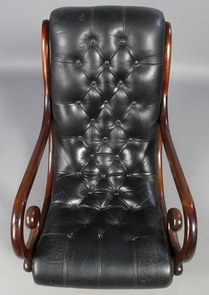 3: PAIR LEATHER CAMPECHE STYLE LOUNGE CHAIRS - 4