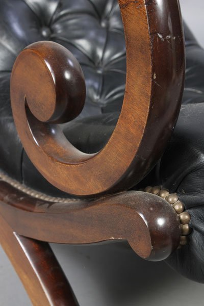 3: PAIR LEATHER CAMPECHE STYLE LOUNGE CHAIRS - 7