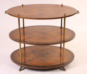 REGENCY STYLE 3 TIER ROSEWOOD WALNUT BRASS CART