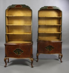 5: PR PAINTED CHINOISERIE BOOKCASE CABINETS
