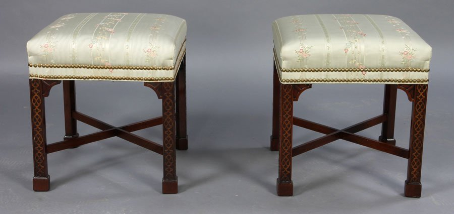 6: PR LABELED HICKORY STOOLS CARVED WOOD C.1950