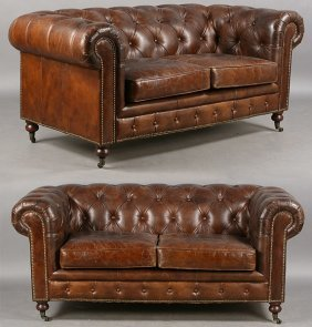 PAIR OF LEATHER CHESTERFIELD SOFAS