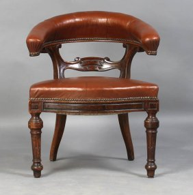 11: ANTIQUE ENGLISH EDWARDIAN LIBRARY CHAIR