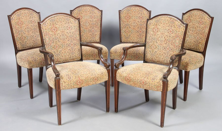 12: SET 6 GEORGE III STYLE DINING CHAIRS C.1950