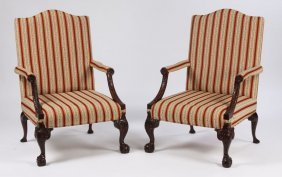 PR CARVED MAHOGANY ENGLISH LIBRARY CHAIRS