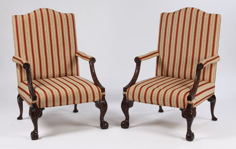 13: PR CARVED MAHOGANY ENGLISH LIBRARY CHAIRS