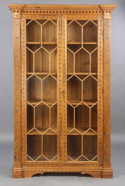 14: ENGLISH PINE GEORGIAN STYLE BOOKCASE GLASS DOORS