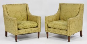 15: PR ADAMS STYLE UPHOLSTERED CLUB CHAIRS C.1920