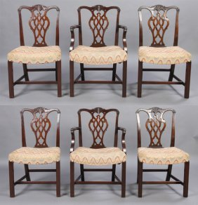 16: 6 MAHOGANY CHIPPENDALE DINING CHAIRS 2 ARMS