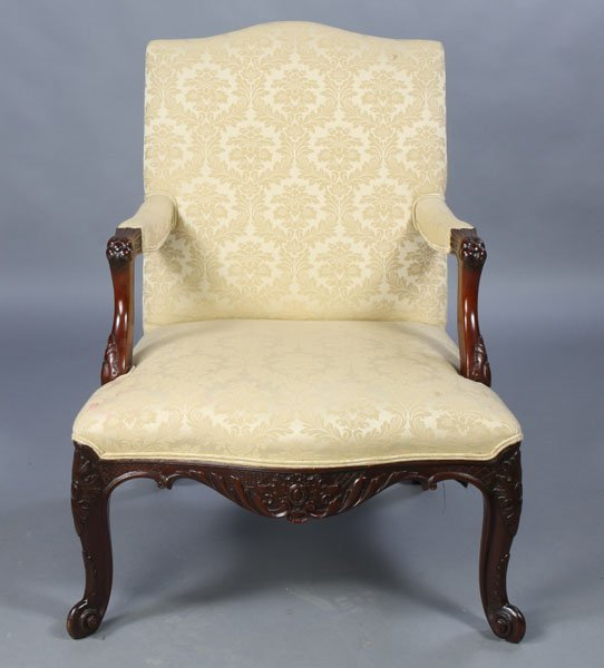 17: LOUIS XV STYLE CARVED ARMCHAIR C.1940