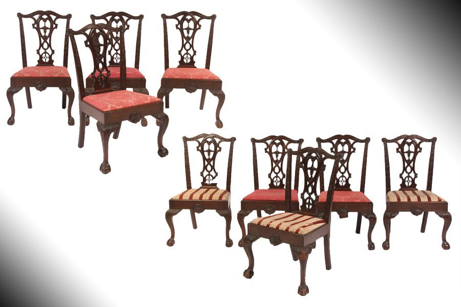 18: SET 9 ANTIQUE MAHOGANY CHIPPENDALE STYLE CHAIRS