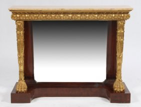 19: ENGLISH REGENCY STYLE MARBLE TOP CONSOLE TABLE