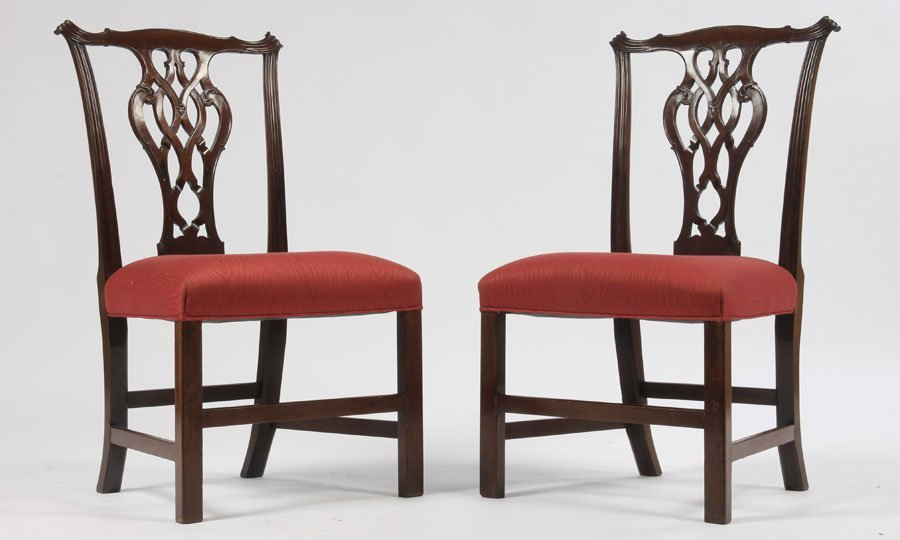 24: PR ANTIQUE 19TH C. CHIPPENDALE STYLE SIDE CHAIRS