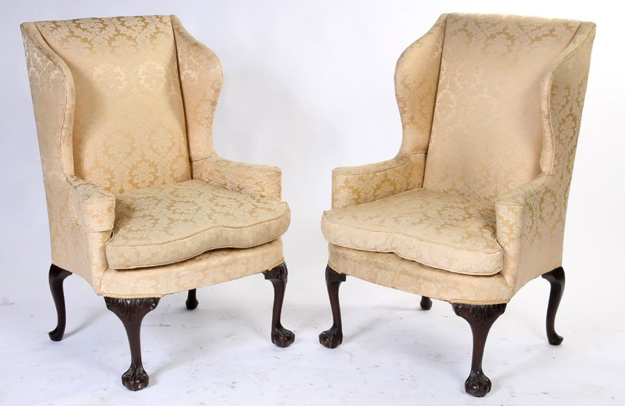65: PAIR WING CHAIRS CHIPPENDALE CABRIOLE LEGS