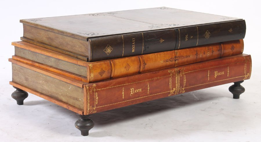 leather coffee table form 3 stacked books