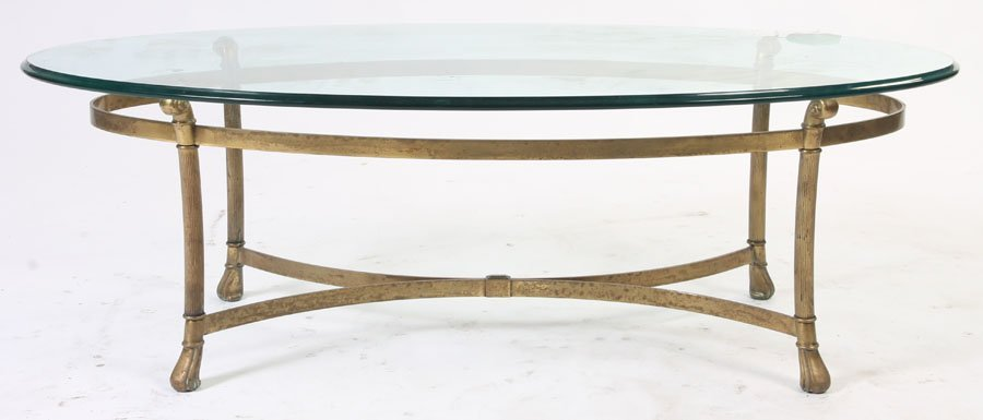 426: BRONZE COFFEE TABLE OVAL GLASS TOP