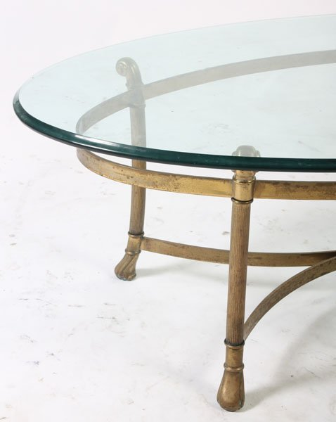 426: BRONZE COFFEE TABLE OVAL GLASS TOP - 3