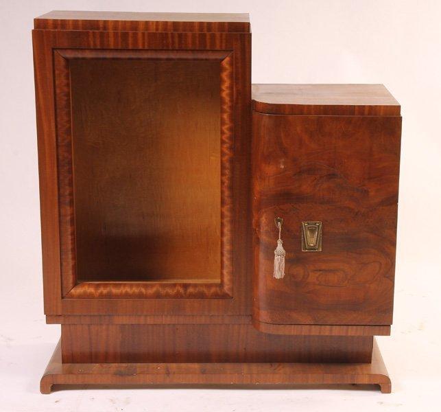 605: MAHOGANY ART DECO 2 DOOR CURIO CABINET