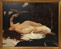 LARGE OIL ON CANVAS PAINTING NUDE WOMAN