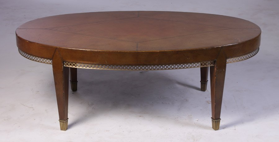 5: OVAL LEATHER BRONZE COFFEE TABLE C.1940