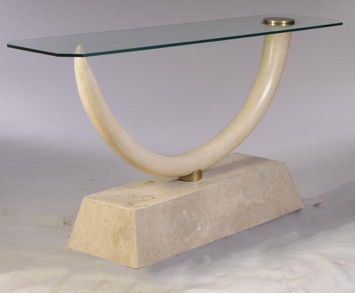 9: FAUX IVORYY MARBLE GLASS CONSOLE TUSK TABLE